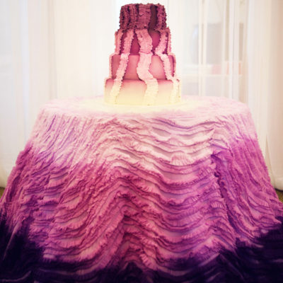 purple ombre ruffled cake table linen inspired bride i do linens (1)